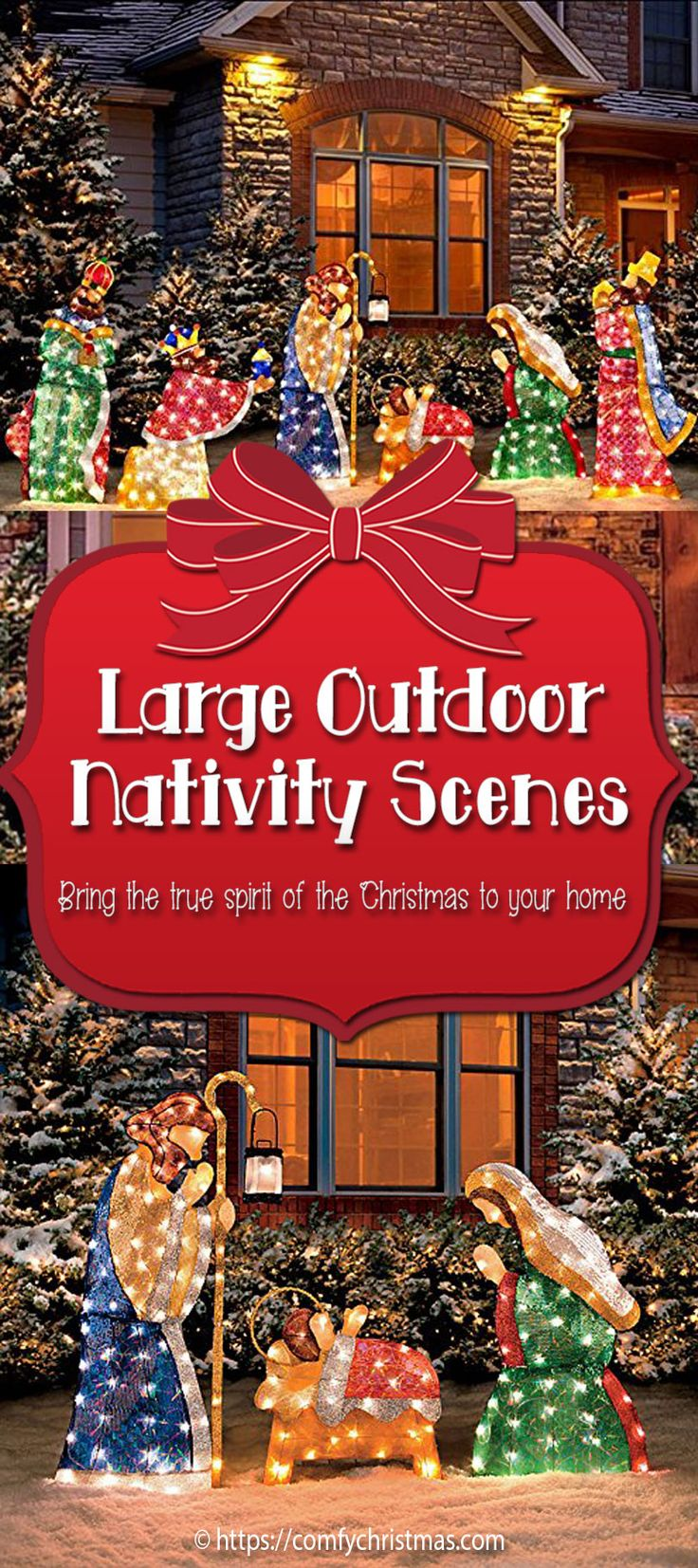 Large Outdoor Nativity scenes bring the true meaning of Christmas to the Holidays! Many of us set up Nativity scenes indoors but why not set up a beautiful Nativity scene in your front yard to remind all the passersby of the real meaning of Christmas.