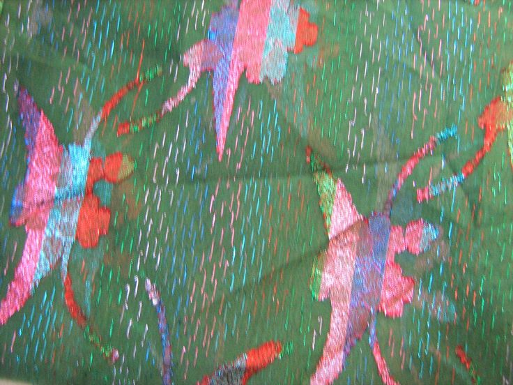 METALLIC GEORGETTE FABRIC Vintage Remnant - 2.5 yards - pinned by pin4etsy.com
