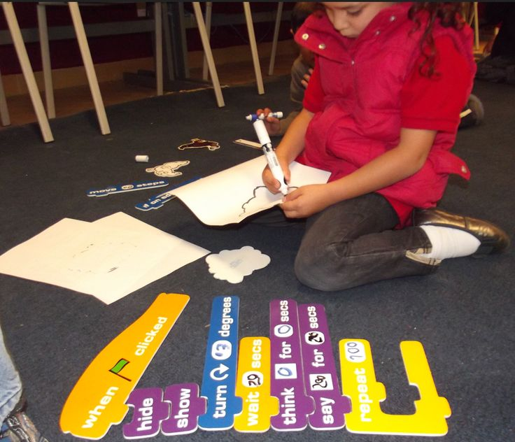 5 year olds manipulating giant Scratch pieces. A great pre-programming idea from ITJ Faculty.