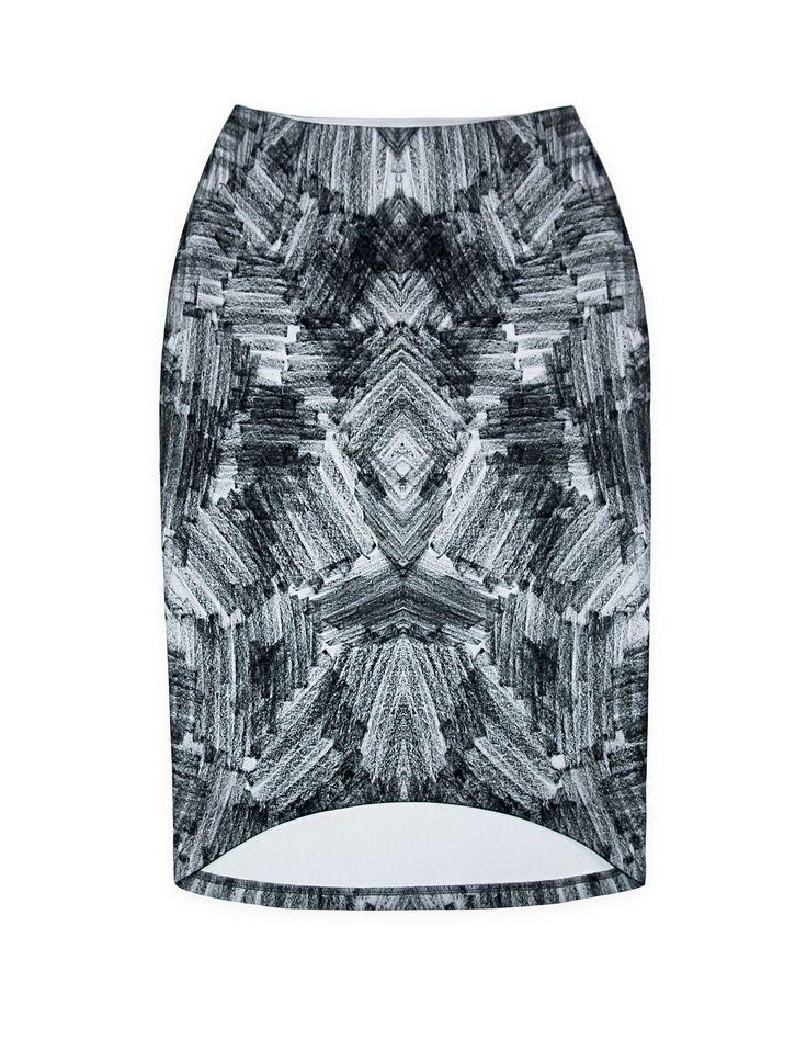 Купить Юбка из неопрена с грифельным принтом - серый, орнамент, юбка карандаш, авторский принт