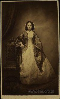 Portrait of a woman with a black Chantilly lace. Photographer Moraitis, Petros Athens, c. 1860, Photographic Archive ELIA-MIET