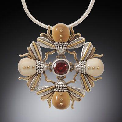 Jenny Byrne - Sterling Silver, 14k Gold Fill, Garnet & Walrus Tusk Necklace