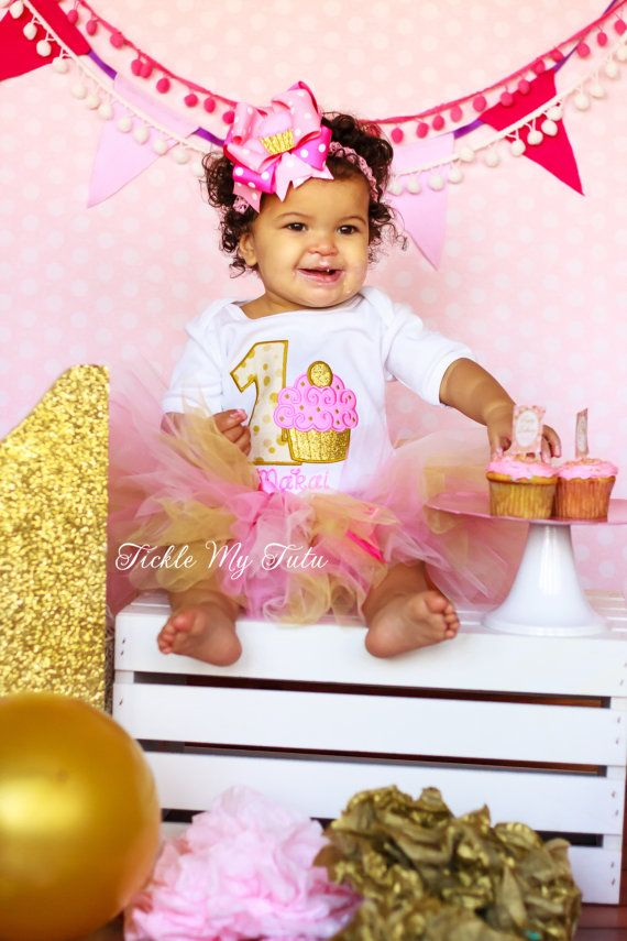 Pink and Gold Birthday Cupcake Tutu Outfit  First by TickleMyTutu