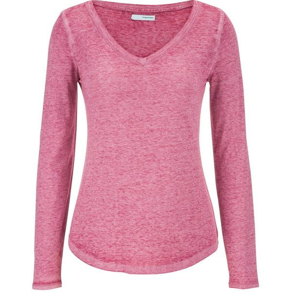 maurices Burnout Tee With Long Sleeves ($24) ❤ liked on Polyvore featuring tops, t-shirts, mixed berry, cotton long sleeve t shirts, long sleeve t shirts, cotton t shirts, pink v neck t shirt e v neck tee
