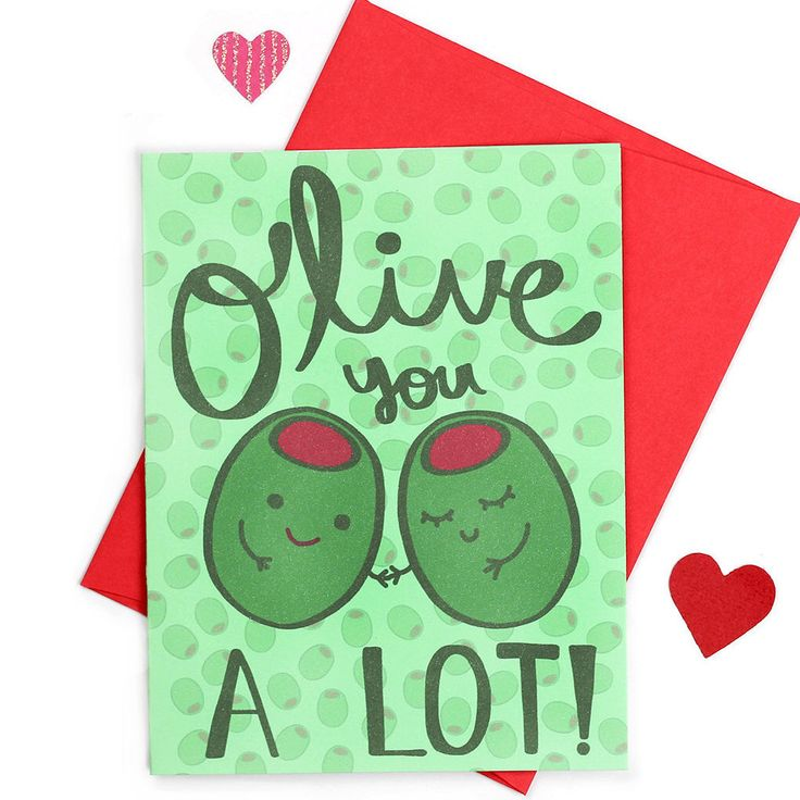 Valentines Day Card, Olive You, Anniversary Puns, Love Puns, I Love You Card, Foodie Gift, Valentines Pun,  Funny Love Card, New Boyfriend by TurtlesSoup on Etsy https://www.etsy.com/listing/262768016/valentines-day-card-olive-you