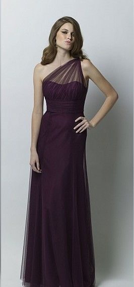 Cheap Informal Column One Shoulder Neck Floor-length Tulle Dark Purple Bridesmaid Dress - 2014 Bridesmaid Dresses