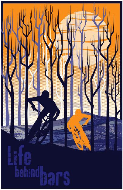 retro vintage mountain bike illustration by ArtBySassanFilsoof