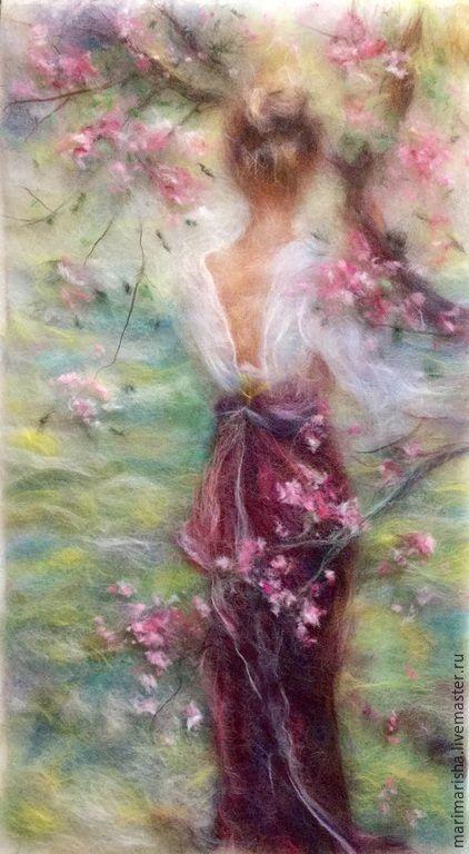 Купить Картина из шерсти Радость светлого дня - разноцветный, картина из шерсти, живопись шерстью, Живопись