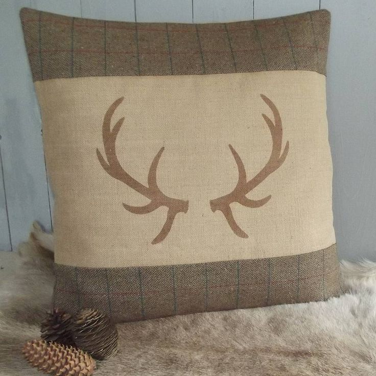 antler tweed and hessian floor cushion by rustic country crafts | notonthehighstreet.com