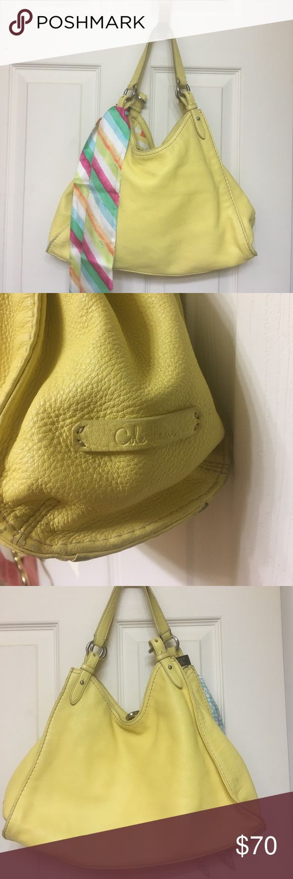 🌞Cole Haan. Bright yellow purse 🌞 Beautiful Cole Haan purse.  It's as bright as the sun.  This is ready to go along with you on spring break.   The scarf is coach, sold separate.  If you want new, don't buy this.    Anything that is used people rate them differently.    Bundle and save.   Always happy to add pics or answer any questions.   🎉 Cole Haan Bags Shoulder Bags