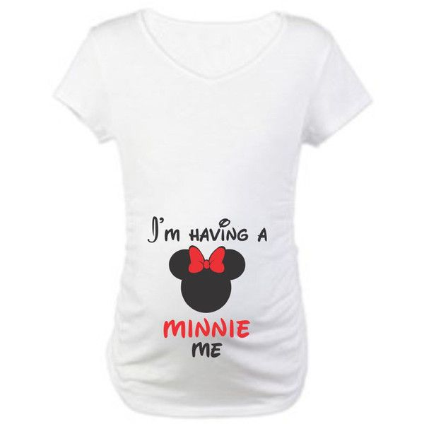 I'm Having a Minnie Me Maternity T-Shirt ($23) ❤ liked on Polyvore featuring maternity, black, t-shirts, tops and women's clothing
