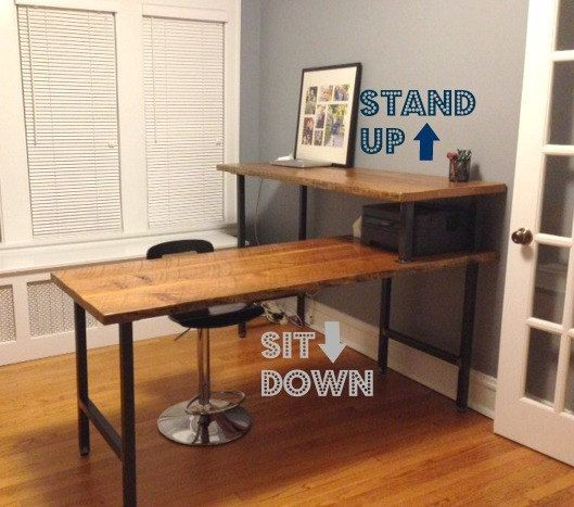 L shape desk made of reclaimed wood, modern and beautiful. Choose your size, finish, height on Etsy, $1,210.00