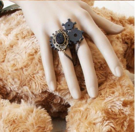 Принцесса готическая Лолита jewery Поток Панк аксессуары старинные черный перо кольцо gear chain gem горный хрусталь готы панк кольцо РИ-01