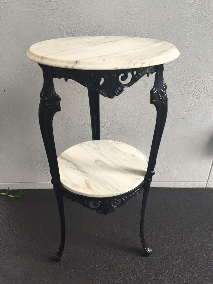 White Marble Two Tiered Side Table Black Gloss Frame Claw Foot