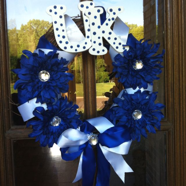 University of Kentucky!!!: Blue White Wildcats Uk, Universityofkentucky, Things Uk, Uk Wreath, University Of Kentucky, Craft Ideas, Kentucky Wildcats, Kentucky Wreath