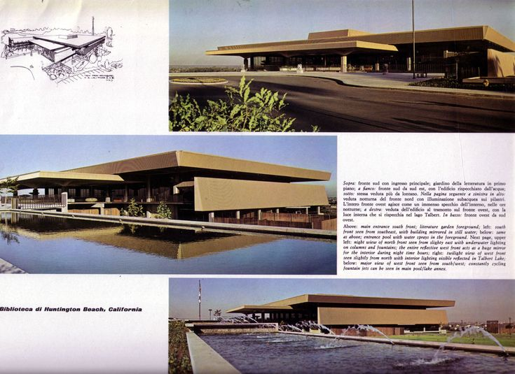 A 1976 Italian magazine article featuring the newly-built Huntington Beach Public Library, designed by Neutra and Neutra.
