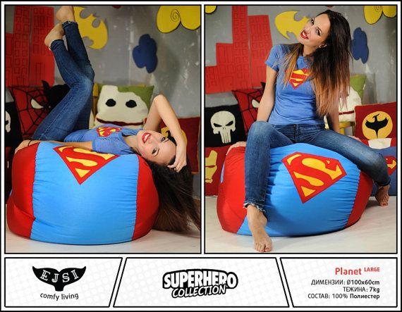 Superhero Bean Bag Chairs Adult Size Beanbag Batman By EJSIdsgn