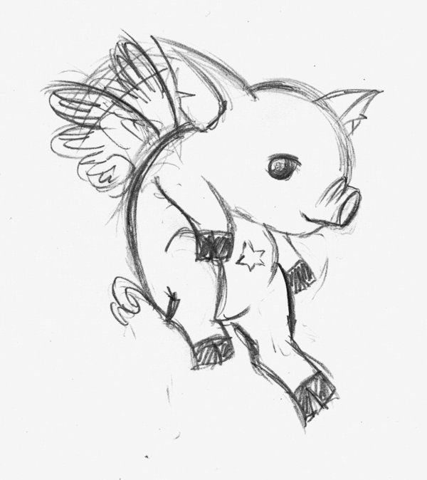 Flying pig sketch black and white flying pig pinterest for Flying pig coloring pages