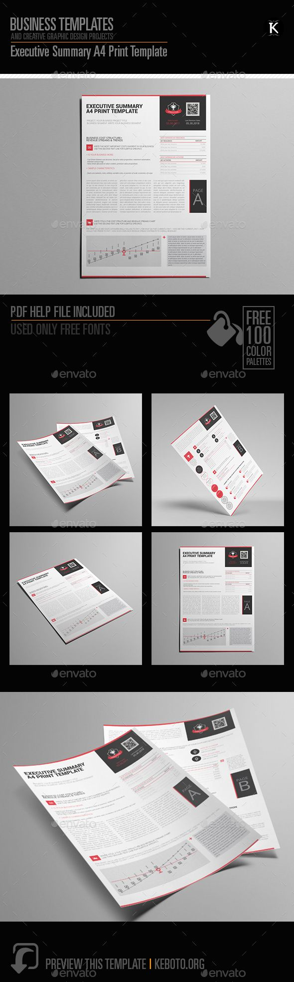 Preview this itemhereExecutive Summary A4 Print TemplateSpecifications: Format: A4 PortraitColor Model: CMYKSoftware: Adobe InDesi