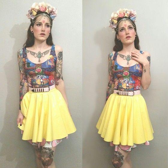 Kirsty - Black Milk Clothing Tale As Old As Time Dress, Black Milk Clothing Lemon Pvc Skirt, Black Milk Clothing Watermelon Skater Skirt - Disney Princess Día de Muertos