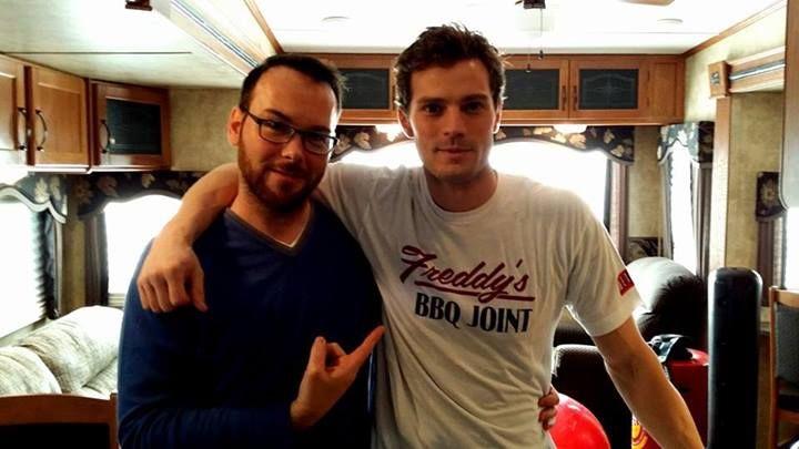 Dana Brunetti (producer) and Jamie Dornan (Christian Grey) on set of Fifty Shades of Grey via Dana Brunetti's FB page https://www.facebook.com/photo.php?fbid=10151994952233131