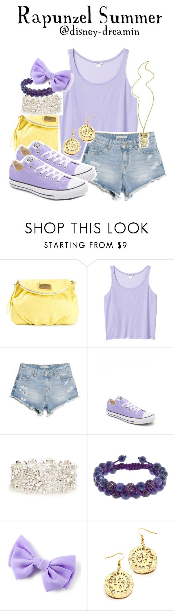 """""""Requested outfit- Rapunzel summer"""" by disney-dreamin ❤ liked on Polyvore featuring Marc by Marc Jacobs, Monki, MANGO, Converse, DailyLook, Eternally Haute and setsbydisneydreamin"""
