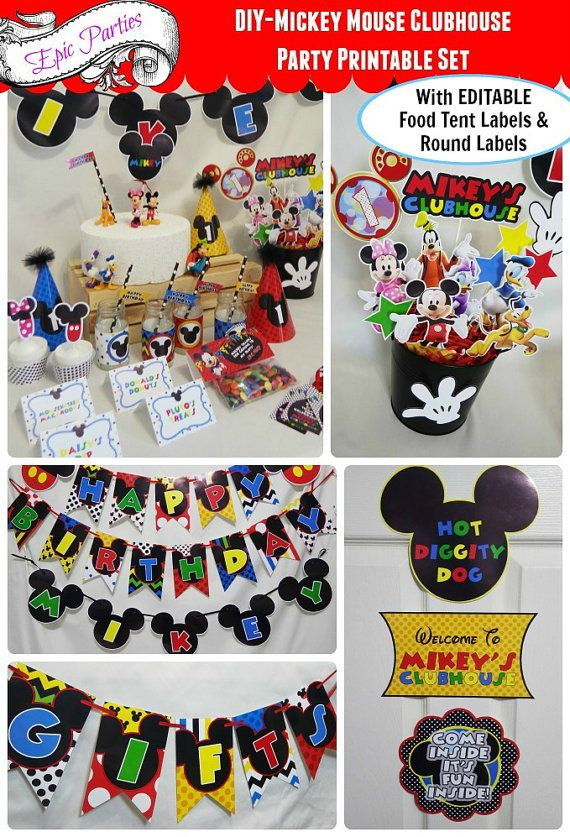 DIY | Mickey Mouse Clubhouse Party Printable | Mickey Birthday | Mickey Decorations | Boy/Girl Twins | Epic Parties by REVO