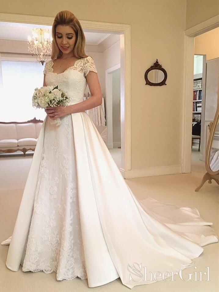 2bd59f99520 Modest cap sleeve wedding gown. Lace   satin bridal gown. 1.Silhouette A  Line 2.Fabric Lace Satin 3.Embellishment Lace 4.Neckline  V Neck 5.