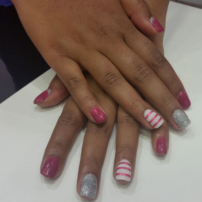 Art sculpture acrylic build on natural nail with stripes and glitter!