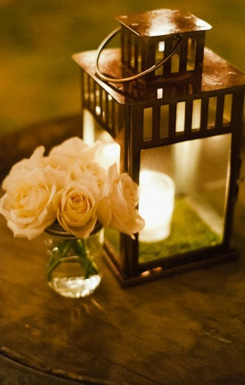 Lantern and rose centerpieces