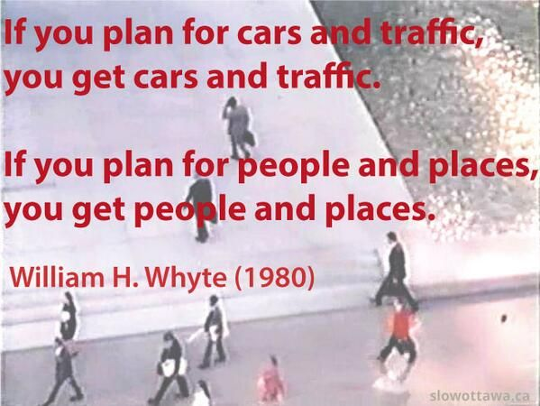 Planning wisdom from public space observer William H. Whyte, with a still from one of his study films.