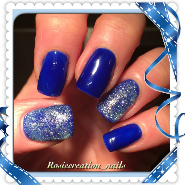 Blue and glitter nails , holiday fun