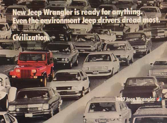 Jeep Wrangler 1987 Ad - New Jeep Wrangler Red in Civilization