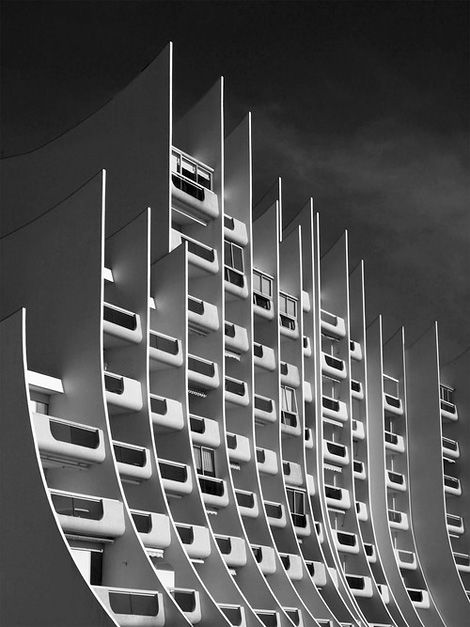 The Wave Building, waterfront apartments built in the 1970s, La Baule, France