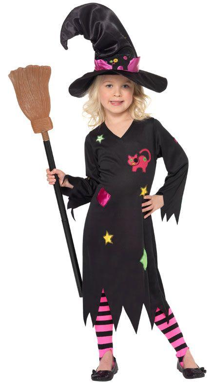 Costume Strega bambina. 110-113 cm. Completo di abito, cappello e calze-leggins a righe. Halloween e carnevale da C&C Creations Store