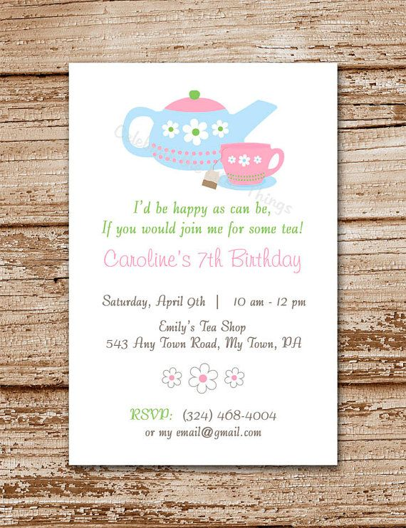 Tea Party Invitation For Girls