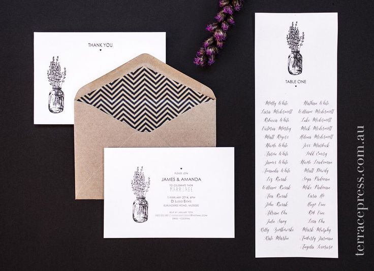 James & Amanda - invitations, lined envelopes, thank you notes and table cards #letterpress #terracepress #wedding #stationery #envelopeliners #invitation