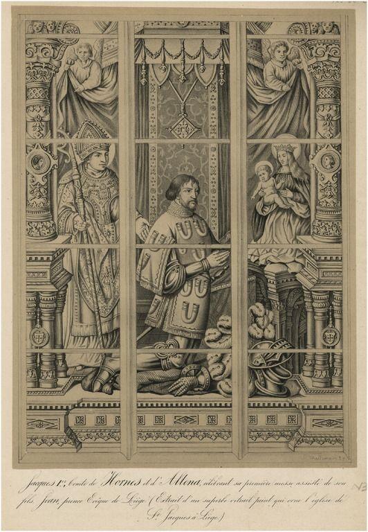 acob I graaf van Horne en Altena met zijn zoon Jan, prinsbisschop van Luik afgebeeld op een glas raam in de St. Jacobskerk te Luik - 1450