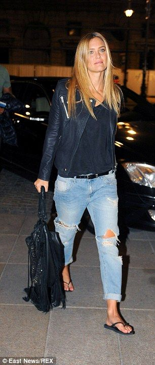 Bar Refaeli dresses down in ripped jeans and flip-flops