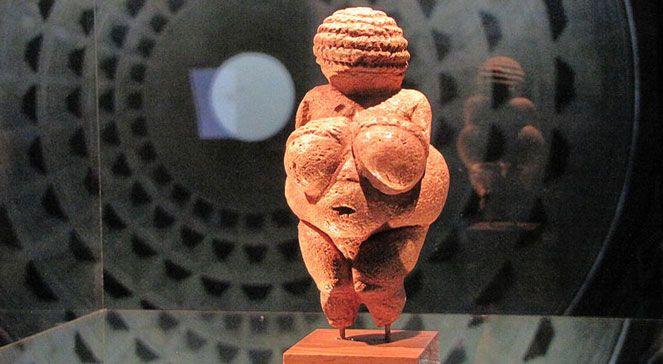 Wenus z Willendorfu. 11,1 cm figurka z epoki paleolitu przedstawiająca postać kobiecą. Wyrzeźbiona z kamienia kredowego. Nie jest realistycznym portretem, wyidealizowane przedstawienie kobiety. Twarz - schematyczna. Głowę pokrywają włos. Najbardziej rozbudowane są piersi, brzuch i uda, gdyż były to atrybuty płodności kobiety-matki dającej życie. Taki sposób przedstawienia może wskazywać na związek z kultem płodności. Naturhistorisches Museum w Wiedniu.