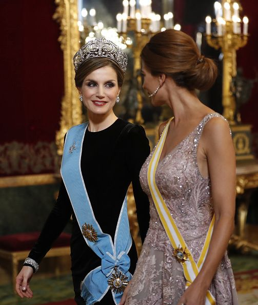 Spanish Queen Letizia chose an understated black dress for tonight's event, but made up for her lack of sparkle by donning the crown jew...