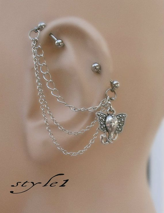 This would look so cute on me. Industrial Barbell Ear Piercing-Earring by triballook on Etsy