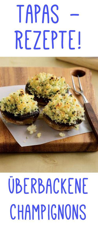 Genial! Überbackene Chapignons mit Ziegenkäse und  Anchovis. Das Rezept gibt es auf www.gofeminin.de/kochen-backen/tapas-rezepte-d59870c668425.html