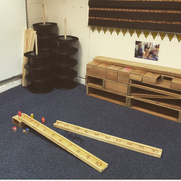Numbered ramps, plastic reels and hollow blocks in my FS2 construction area.