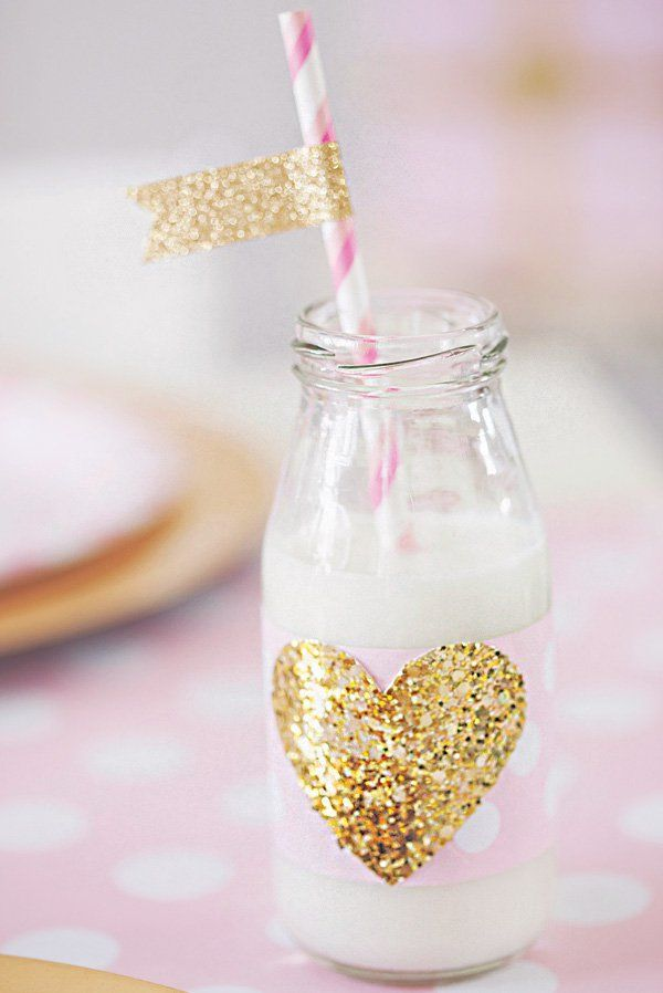 gold glitter heart milk bottles and party flags
