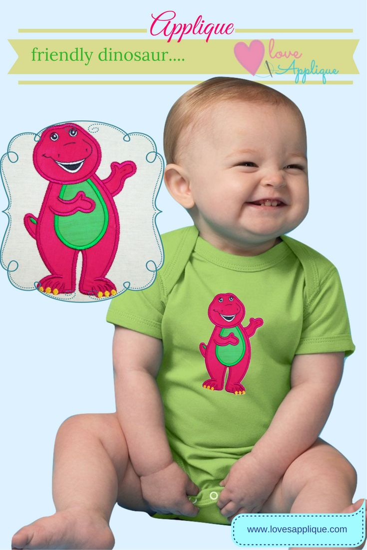 Barney Applique, Barney Embroidery designs. Barney Birthday Ideas. Barney outfit Ideas, Barney kids clothing. Barney the Dinosaur, www.lovesapplique.com