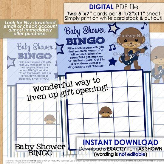 Rockstar Monkey Baby Shower / Printable Bingo Game Card games monkeys boy boys #0173 / pdf file INSTANT DOWNLOAD