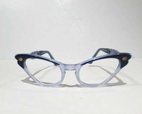 Beautiful two-toned blue Selecta cateye eyeglass frames. Handmade in France in the 1960s for Selecta Optical Frames. These retro cat eye glasses are sure to add the right touch to your look. True vintage as these are NOS or New Old Stock, theyve never been used. These mid-century beauties are very sharp and chic and ready for you! Super stylized glasses feature a beautiful mix of bold and icy blue shades. Optical Grade quality and ready for your prescription. These would make a wonderful…