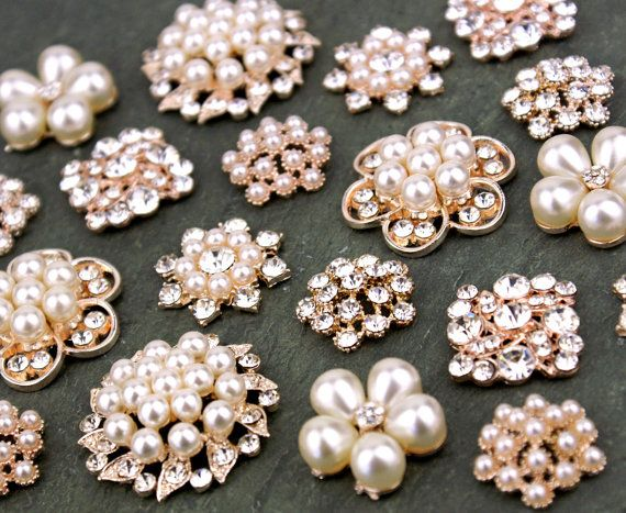 10 Assorted Rhinestone Crystal Flatback Button Brooch Flower Pearl Rose Gold Napkin Ring Hair Clip fm01