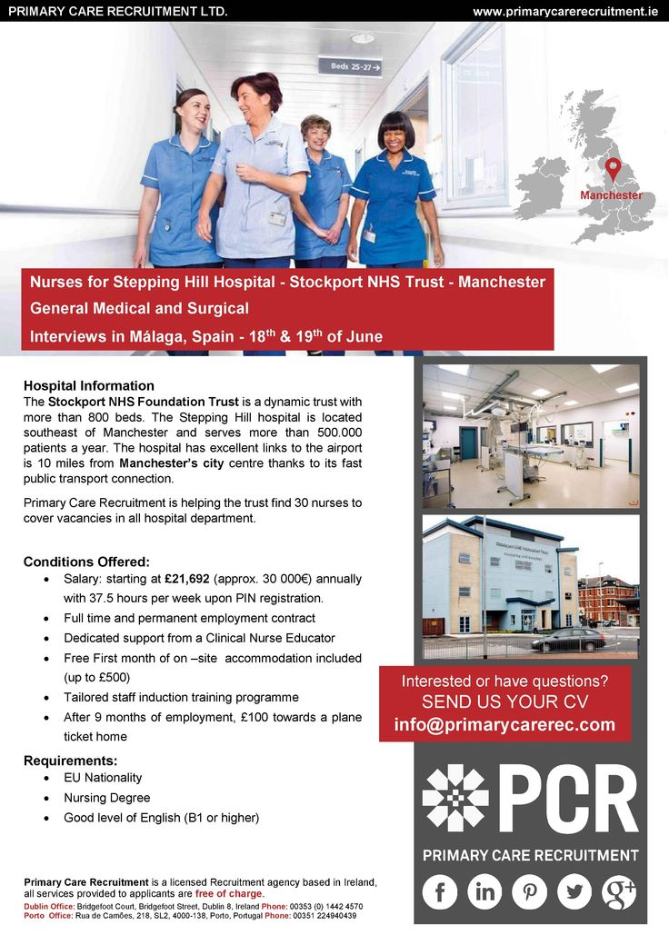 Nurses for Stepping Hill Hospital - Stockport NHS Trust - Manchester  General Medical and Surgical  Interviews in Málaga, Spain - 18th & 19th of June  SEND US YOUR CV info@primarycarerec.com
